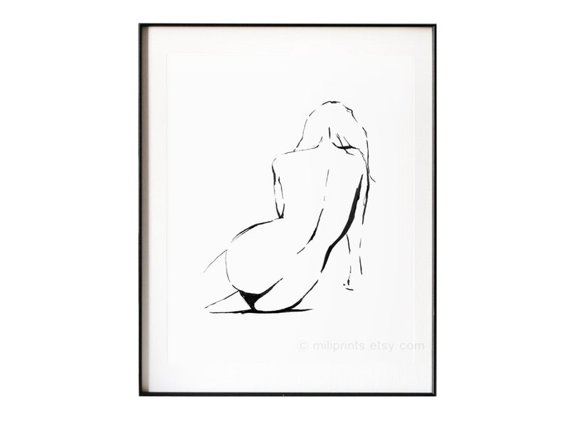 Nude Ink Drawing, Nude Line, Female Nude, Large Nude, Naked Woman, Bedroom  Art, Bathroom Art, Sensual Art, Nude Silhouette, Nude Art Print