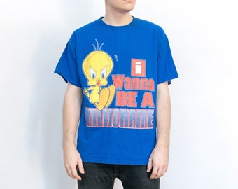 "Vintage 1990s Warner Brothers 'Looney Tunes' Tweety Bird ""I wanna be a millionaire"" t shirt"