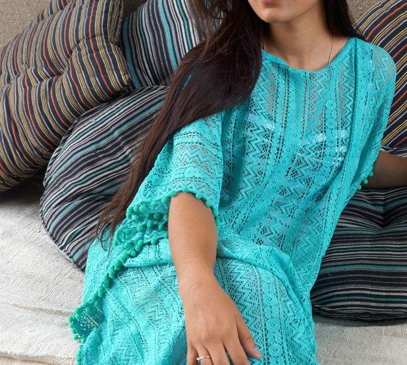 net lace turquoise cotton Kaftan 100 in HWpPqTnwgx
