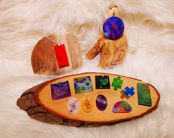 Keychain Pendant Pocket Tree Slice Ocean Gift Resin Sea Puzzle Galaxy Necklace