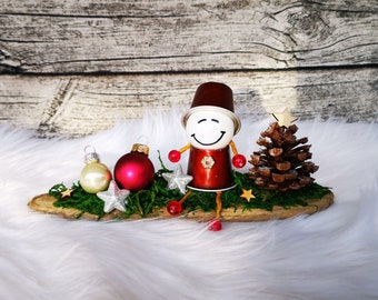 Advent set with upcycled gnome from Nespresso capsules driftwood nature Christmas decoration lucky charm star glass ball Christmas decoration