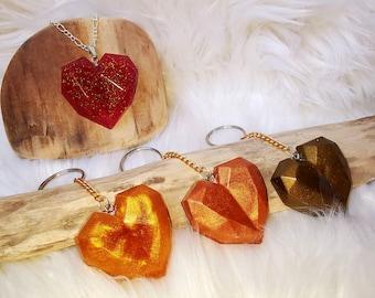 Heart Heart Keychain Pendant Pocket Tree Slice Ocean Gift Resin Resin Necklace