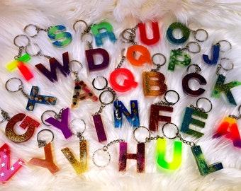Alphabet ABC Name Keychain Pendant Pocket Tree Slice Ocean Gift Resin Sea Puzzle Galaxy