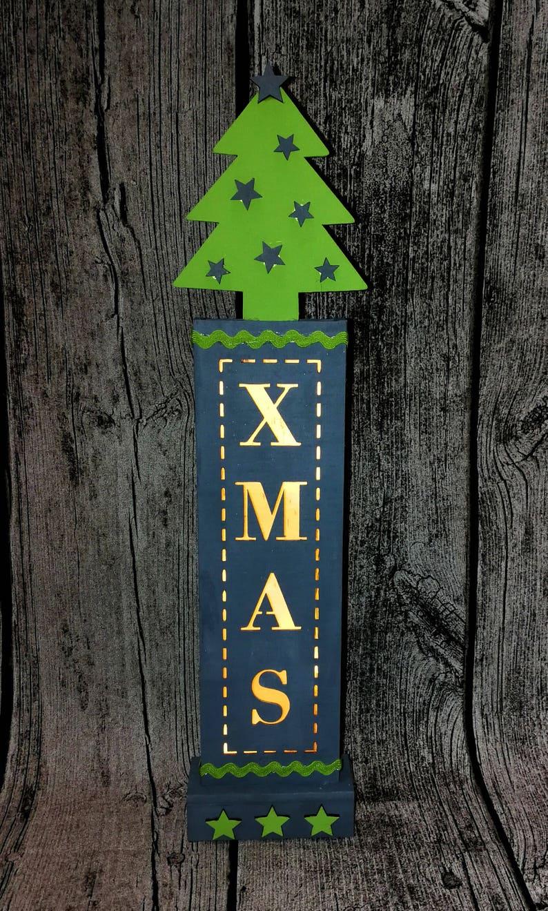 Illuminated decorative element XMAS Christmas tree grey green image 0