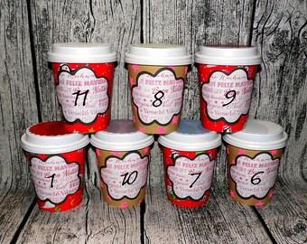 L) Advent Calendar Mug to Fill Yourself - Advent Calendar Christmas Mug Empty Self Fill Xmas Gift