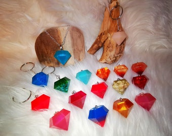 Diamond keychain angel wing cactus pendant pocket tree slice ocean gift resin resin resin