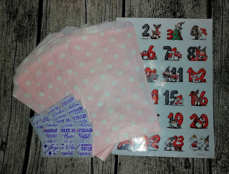 24 paper bags  sticker Advent calendar to DIY with Advent image 0