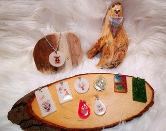 Deer Fox Cat Angel Wing Dream catcher Keychain Pendant Pocket Tree Slice Ocean Gift Resin Sea