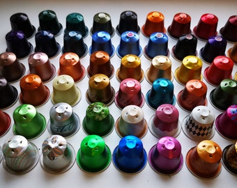 100 coffee capsules Nespresso aluminum jewelry recycling upcycled capsules jewelry creative material tinkering empty