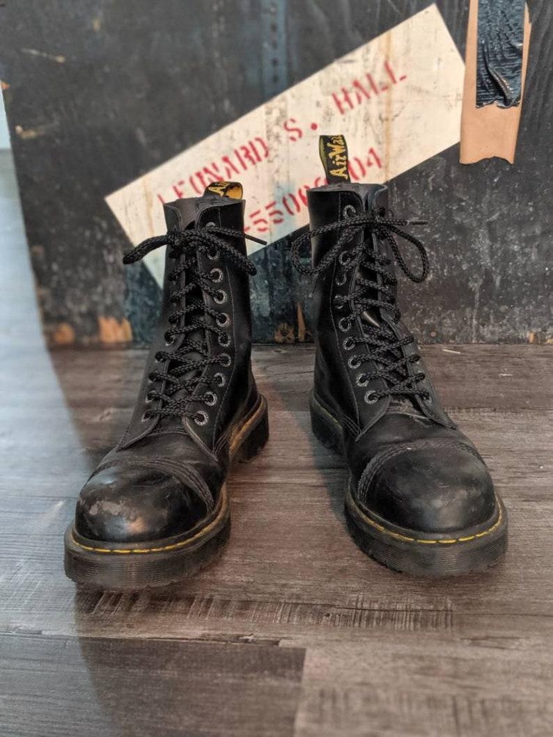 124ff332e5d Black Dr. Martens 8761 BXB Platform Shoe Steel Toe 10 Eye Lace Up