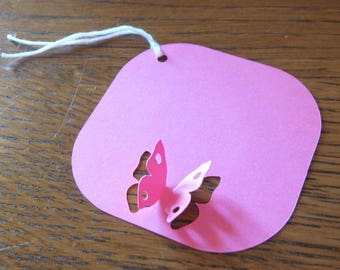 3D Butterfly Square Gift Tags