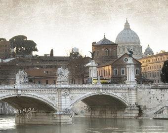 VATICAN AT DUSK ROME SANT ANGELO BRIDGE AT DUSK CANVAS GICLEE 8X10 ART PRINT