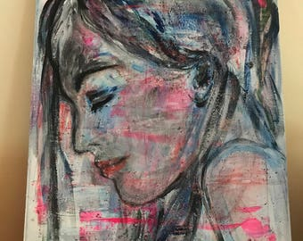 Art painting woman in profile longing