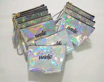 e709cbd35663 Personalized holographic makeup bag