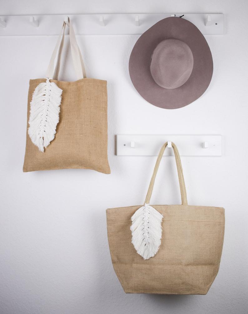 Boho Sack Jute Bag Jute Sack Jute Bag with Macrame Feather Hipster Bag Macrame Boho Bag Hobo Bag Book Bag macrame feather Boho Bag