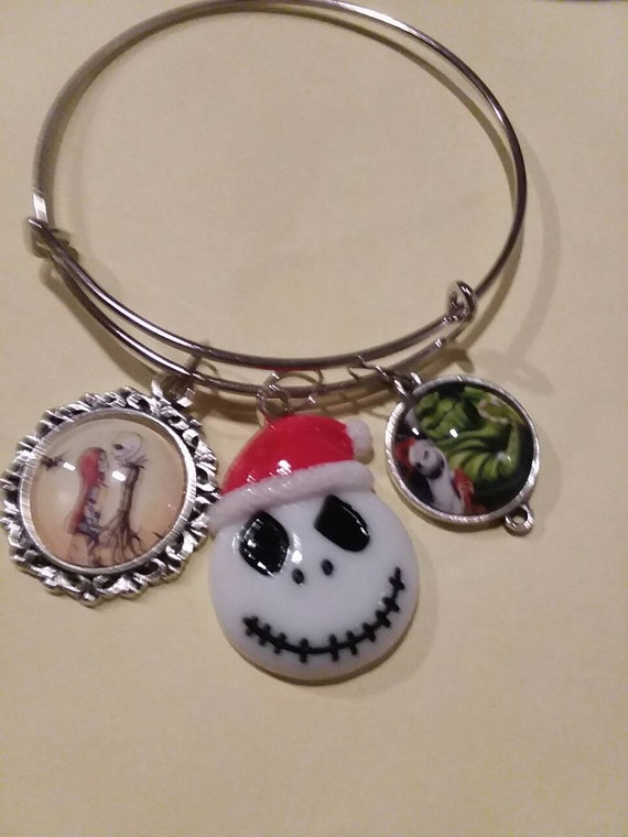 Nightmare Before Christmas Charm Bangle Bracelet by Etsy