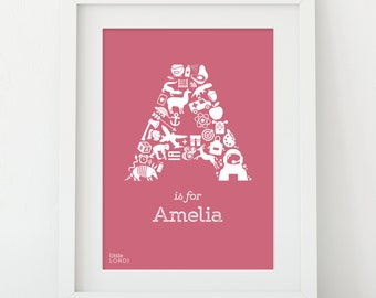 Personalised Alphabet Print - Letter A