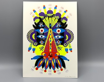 "Screenprint/screen print ""Folklore-Mask"""