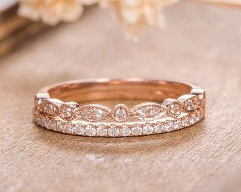 Rose Gold Wedding Band Women Art Deco Diamond Dainty Minimalist Bridal Marquise Delicate Bezel Set Milgrain Anniversary Half Eternity Ring