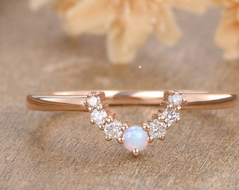 Curved wedding band Rose gold Unique Diamond And Opal Mathing band women Handmade custom wedding ring Valentines day gift for her