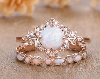 Flower Opal Engagement Ring Set Antique 2pcs Rose Gold Opal Bridal Set Diamond Halo Floral Ring Round Cut Lab Opal Ring Vine Leaf Women Ring
