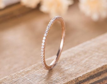 10b1f78c2222 Eternity Diamond Band Rose Gold Wedding Band Women Minimalist Stacking  Matching Delicate Ring Bridal Dainty Promise Anniversary Simple
