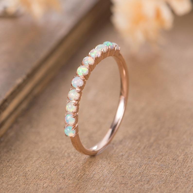 556abc23cd8976 Opal Wedding Band Women Rose Gold October Birthstone Stacking   Etsy