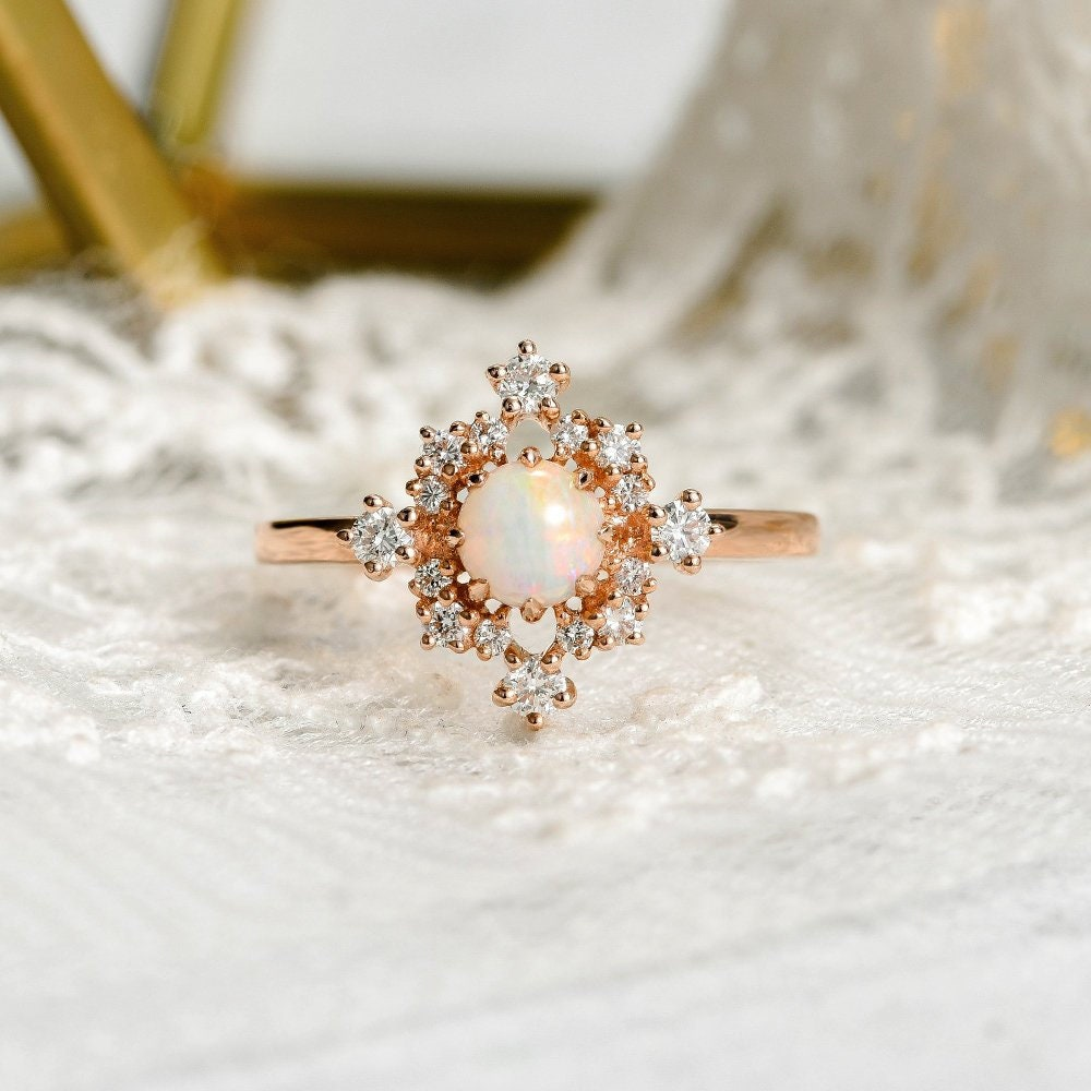 b4824c817a286e Rose Gold Opal Engagement Ring Cluster Diamond Halo October   Etsy
