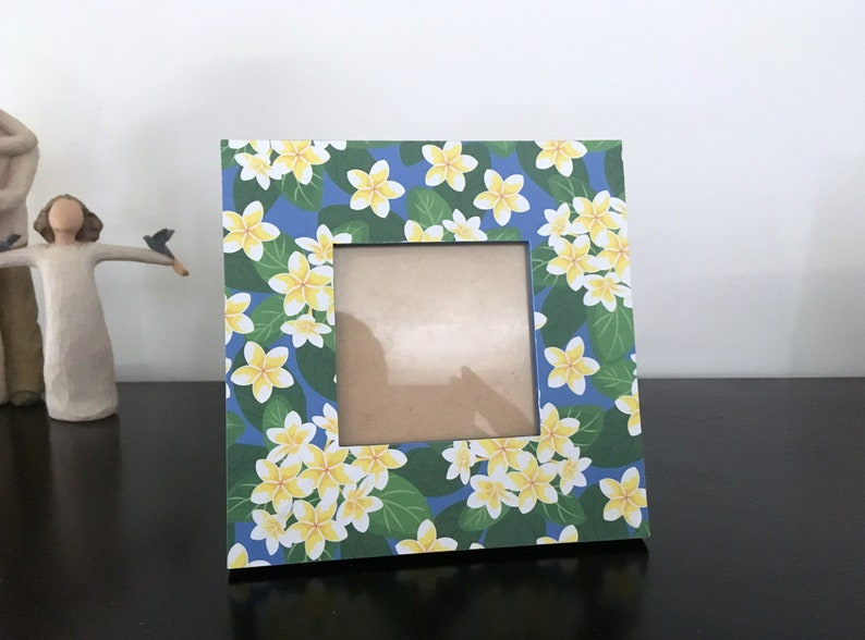 Small Square Wooden Photo Frame tropical flowers