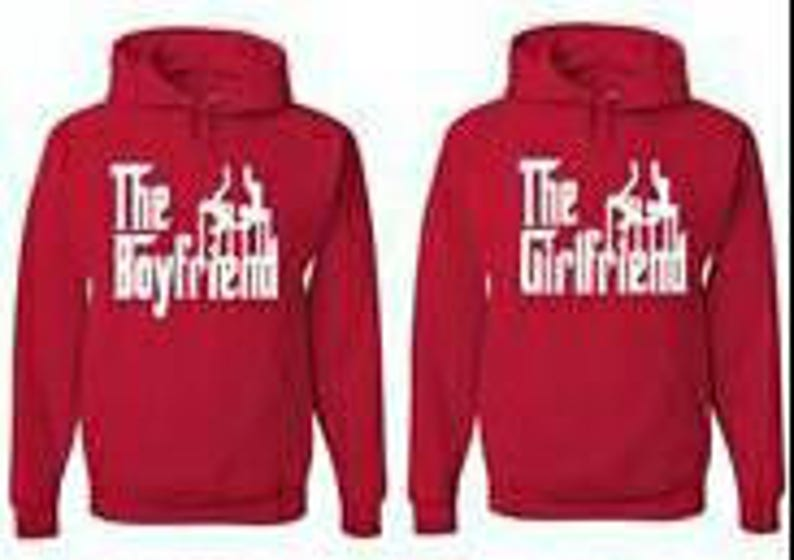 Couples hoodies /'The boyfriend/' and /'The girlfriend/' valentines or just for love matching tops declare relationship status couples tops