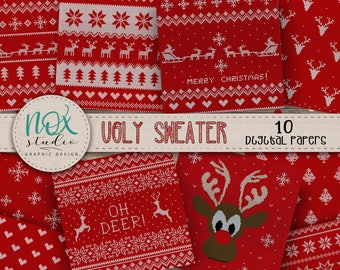 christmas sweater digital paper ugly sweater christmas jumper pattern commercial use instant download dpp006
