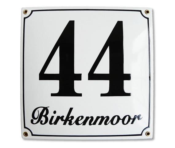 Hausnummer Hausnummernschild Emaille 30x40 cm mit Wunschstra/ßennamen und Nummer