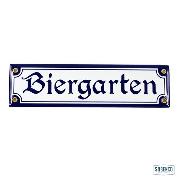 Enamel plaque BIERGARTEN 8x30 cm Beer Garden Sign German Deutschland Oktoberfest Party Decor Bavarian Rustic