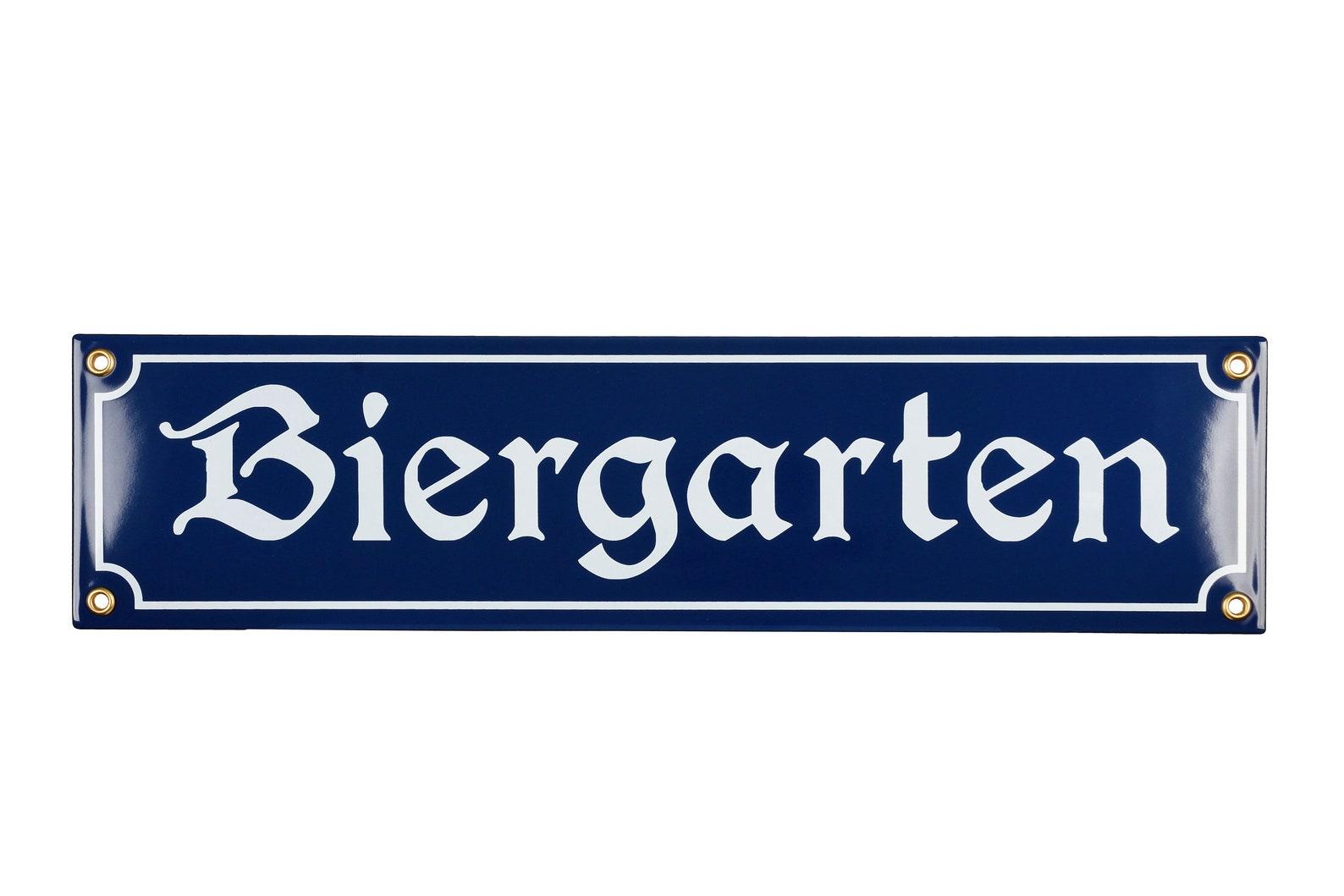 Enamel plaque BIERGARTEN 10x40 cm