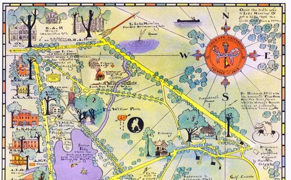 Colgate University Map Hamilton Ny Vintage Wall Art Campus Etsy