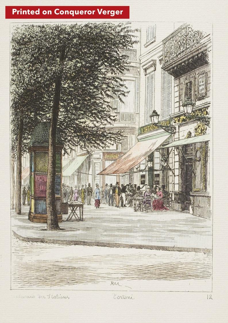 Paris wall art CAFE TORTONI lithograph french antique