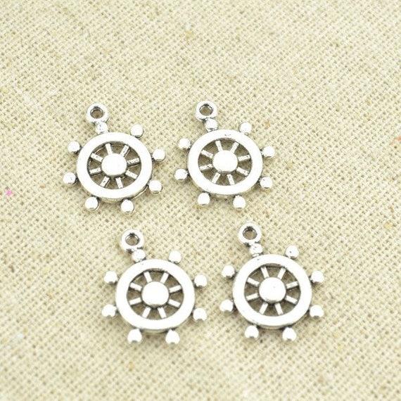 Anchor /& Wheel Charm//Pendant Tibetan Antique Silver 21mm  20 Charms Accessory