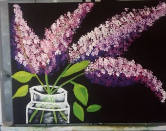 Original oil painting Lilac in glass