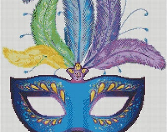 Mardi Gras Mask fat tuesday festival  holiday counted cross stitch pattern