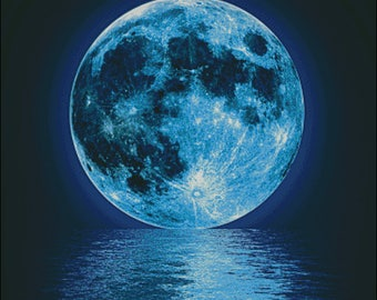 Full blue super moon counted cross stitch pattern