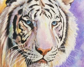 White bengal tiger wild cat digital counted cross stitch pattern pdf