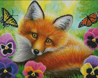 Red fox pansy flowers wildlife tiger swallowtail monarch butterfly counted cross stitch pattern PDF
