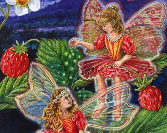 Fairies Faeries strawberry girls  fantasy counted cross stitch pattern
