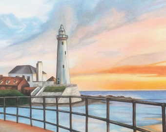 Light House sunset sunrise St. Mary's  counted cross stitch pattern