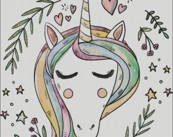 Unicorn fantasy counted cross stitch pattern PDF