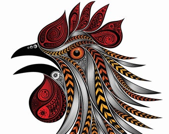 Zentangle Rooster head chicken farm roo counted cross stitch pattern