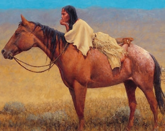 Indian maiden on horseback western  counted cross stitch pattern