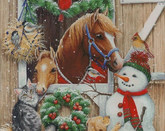 horse stable cat dog snowman christmas winter counted cross stitch pattern