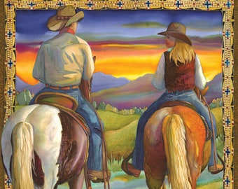 cowboy cowgirl horseback sunset western  counted cross stitch pattern