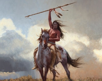 Indian warrior on horseback spear battle signal counted cross stitch pattern